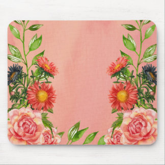 Peach Color Floral Watercolor Mouse Pad