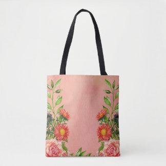 Peach Color Floral Watercolor Tote Bag