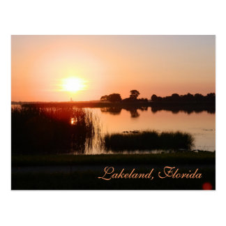 Peach color sunset in Lakeland Florida Postcard