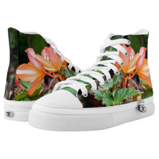 Peach Colored Flowers High Top Zipz Sneakers
