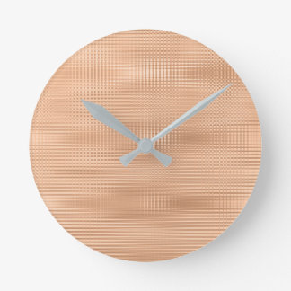 Peach Copper Coral Gray Minimal Metallic Stripes Round Clock