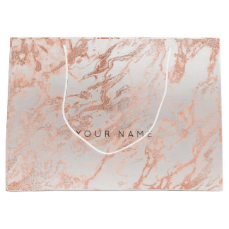 Peach Coral Blush Marble Metallic Gift Gray Silver Large Gift Bag