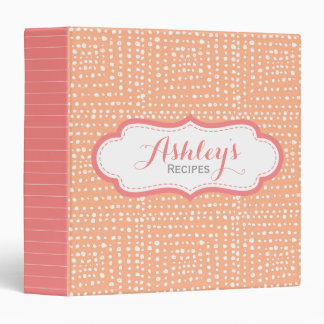 Peach Coral Pattern Personalized Recipe Girly Vinyl Binders