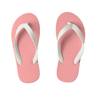 Peach-Coral-Polka-Dots--Kids-Multi-Styles_Colors Kid's Flip Flops
