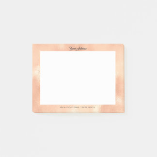 Peach Coral Rose Gold Office Name Telephone Web FB Post-it Notes