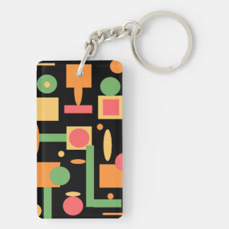 Peach Coral Sage Geometric Shapes Pattern Double-Sided Rectangular Acrylic Keychain