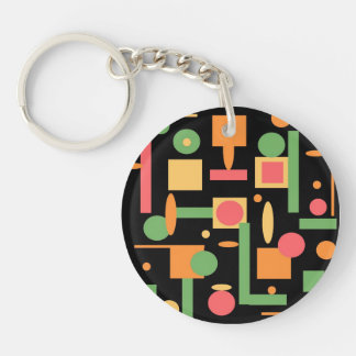 Peach Coral Sage Geometric Shapes Pattern Double-Sided Round Acrylic Keychain