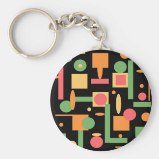 Peach Coral Sage Geometric Shapes Pattern Key Chain