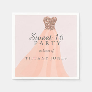 Peach Coral Sparkling Glitter Gown Sweet 16 Party Disposable Napkin