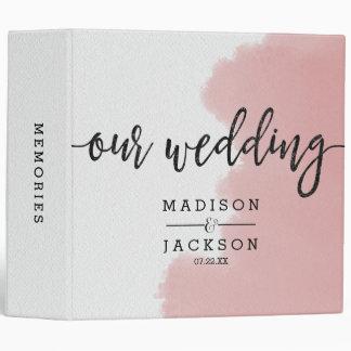 Peach Coral Watercolor Strokes Wedding Photo Album 3 Ring Binders