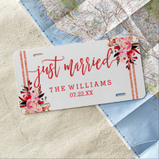 Peach & Coral Watercolor Wedding Just Married License Plate