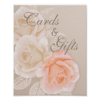Peach &  Cream Roses Cards and Gifts 8x10 Poster