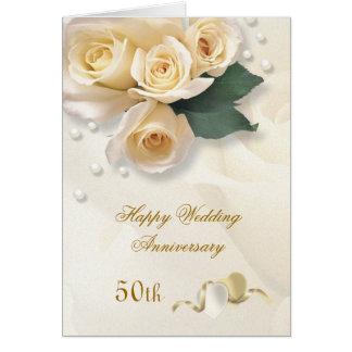 Peach cream roses, hearts 50th Wedding Anniversary Card
