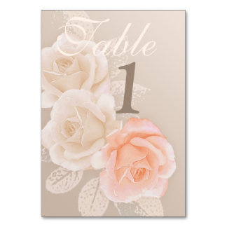 Peach & Cream Roses Table Number {right align} Table Card
