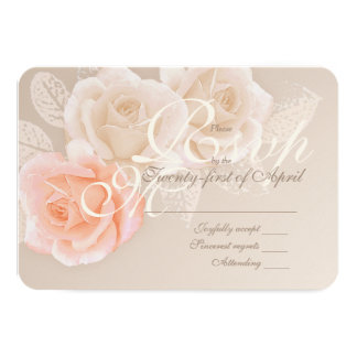Peach & Cream Roses Wedding RSVP Card