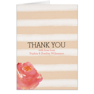 Peach Cream Stripes Watercolor Flowers Thank you Note Card