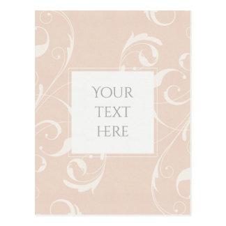 Peach & Creamy White Floral Swirl Elegant Wedding Postcard