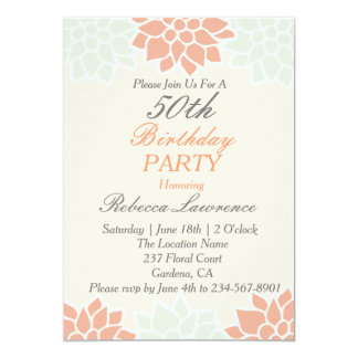Peach Dahlia Floral Birthday Invitation