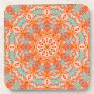 Peach Dahlia Kaleidoscope Coasters
