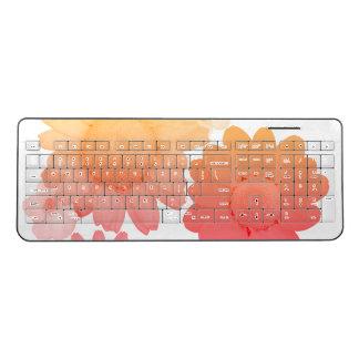 Peach Daisy Flowers Artsy Photography Wireless Keyboard
