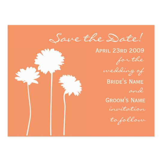 Peach Daisy Save the Date Postcard