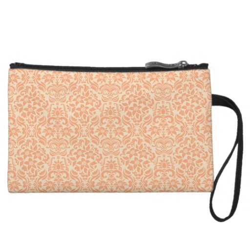 Peach Damask Accessory Clutch or Makeup Bag Wristlets
