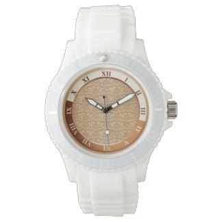 Peach Damask Metallic Wrist Watch