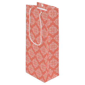 Peach Damask Wine Gift Bag