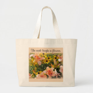 Peach Day Lily and Yellow Cone Flowers Large Tote Bag