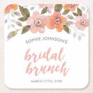 Peach Delicate Floral Bridal Shower Square Paper Coaster