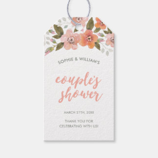 Peach Delicate Floral Couple's Shower Gift Tags