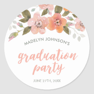 Peach Delicate Floral Graduation Party Classic Round Sticker