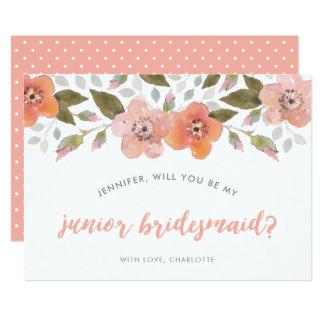Peach Delicate Floral Junior Bridesmaid Card