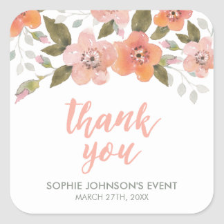Peach Delicate Floral Thank You Square Sticker