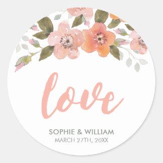Peach Delicate Floral Wedding Love Classic Round Sticker