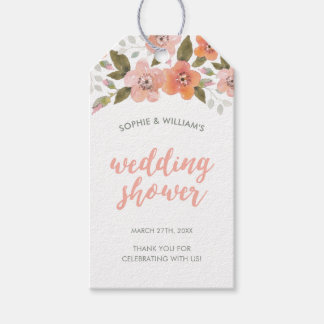 Peach Delicate Floral Wedding Shower Gift Tags