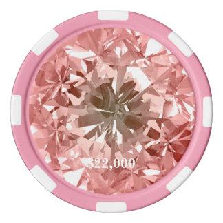 Peach Diamond Gem Stone Poker Chip Stripe Edge