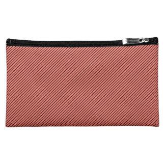 Peach Echo and Black Stripe Cosmetic Bag