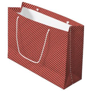 Peach Echo and Black Stripe Large Gift Bag