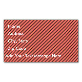 Peach Echo and Black Stripe Magnetic Business Card