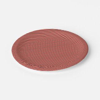 Peach Echo and Black Stripe Paper Plate