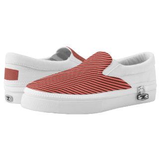 Peach Echo and Black Stripe Slip-On Sneakers