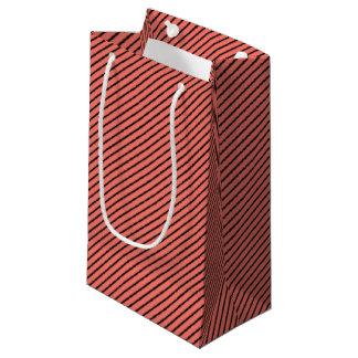 Peach Echo and Black Stripe Small Gift Bag