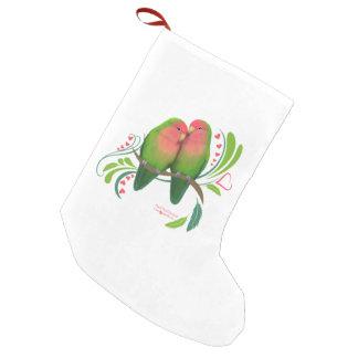 Peach Faced Lovebirds Small Christmas Stocking