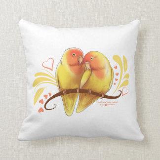 Peach Faced Lutino Lovebirds Throw Pillow
