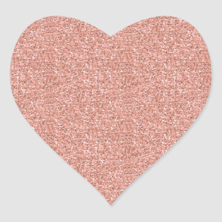 Peach Faux Glitter Heart Sticker