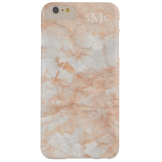 Peach Faux Marble Monogram iphone Case