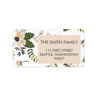 Peach Floral Address Labels