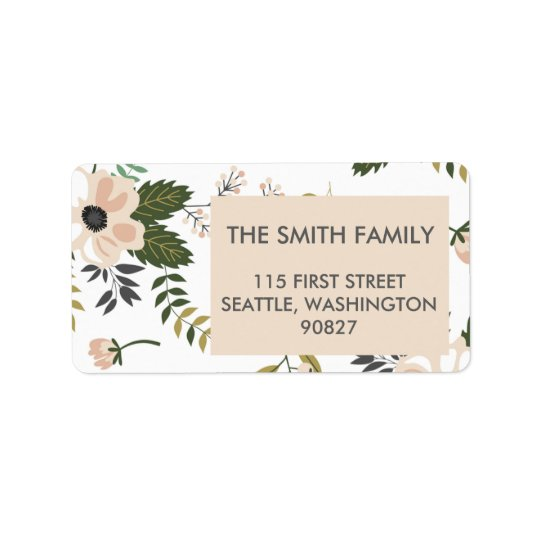 Peach Floral Address Labels