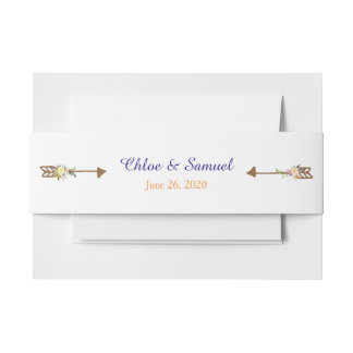 Peach Floral Arrow Wedding Invitation Belly Band